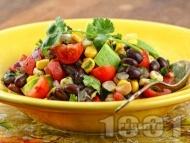 Бобена салата с черен боб от консерва, чери домати, царевица и авокадо